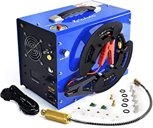 TOAUTO A3 PCP Air Compressor, Unique Vertical+Wire Spool Portable Design, Auto-Stop, Oil/Water-Free, 4500Psi/30Mpa, 8MM Quick-Connector for Paintball/PCP Air Rifle/Tank, 110V AC or 12V Car Battery
