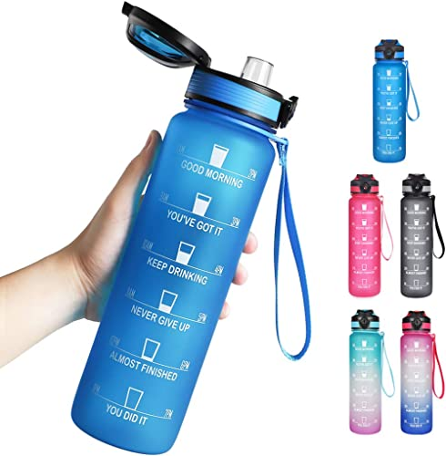 Opard 32oz Sports Water Bottle with Motivational Time Marker to Drink, Reusable BPA Free Tritan with Filter for Gym a...