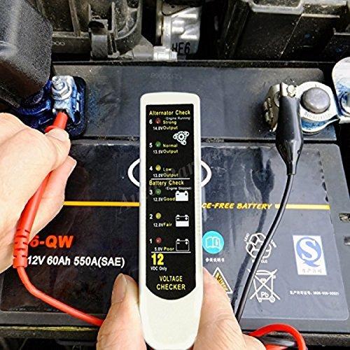 Auto-Partner Universal Automotive Alternator Battery Tester, 12V Car Generator Voltage Checker with Led Light