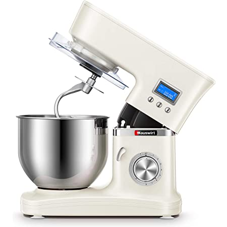 Hauswirt Stand Mixer, 3-IN-1 5.3Qt Tilt-Head Electric Kitchen Tool with Timer, 8 Speeds & Pulse, Planetary Mixing, Includes Stainless Steel Dough Hook, Flat Beater, Wire Whip, Pouring Shield - White