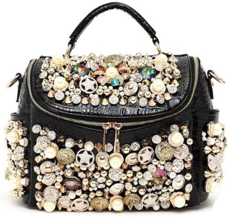 2019 Women Handbag Rhinestone Luxury Rivet One Shoulder Crossbody Messenger Bag