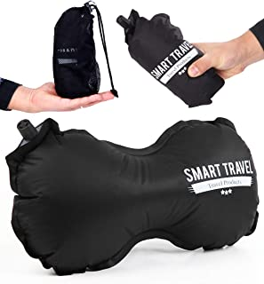 SmartTravel 飛行機 腰 クッション 腰痛 枕 ネックピロー 旅行用 まくら トラベルグッズ 海外旅行 便利グッズ 腰枕 (1. ビンテージブラック)