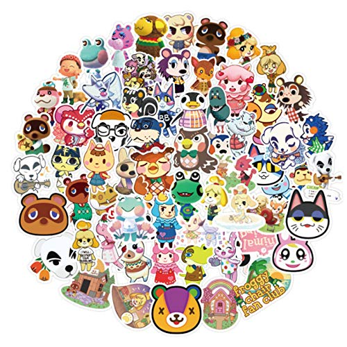 Animal Crossing Stickers Cute Anime Vinyl Stickers for Kids Waterproof Gaming Sticker Water Bottle Laptop Skateboard Luggage Guitar Adults Teens (100pcs)