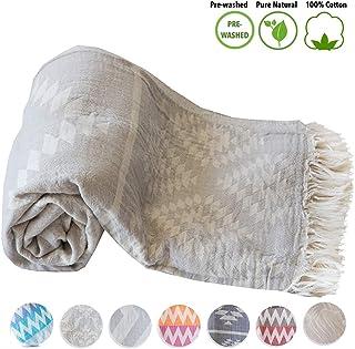 Mebien Turkish Beach Bath Towel Peshtemal-Luxury Prewashed Cotton Blanket Vintage L.Grey 33x66inches