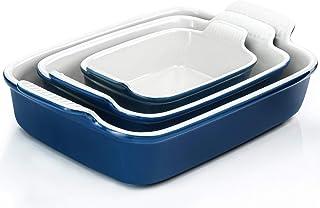 Porcelain Baking Dish, RAZCC Porcelain Bakeware Set, Rectangular Casserole Dish Set, Lasagna Pan, Baking Pans Set for Cook...