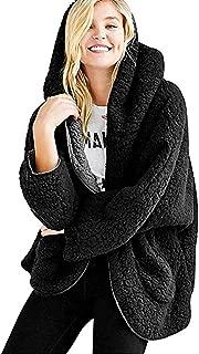 Xinantime Womens Casual Fleece Fuzzy Faux Shearling Warm Winter Loose Oversize Hooded Coat
