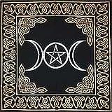 Altar Tarot Cloth: Triple Goddess With Pentagram - 24' x 24' (Gold/Silver on Black Pentacle/Pentagram)