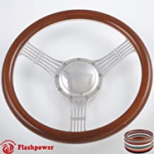 Flashpower 14'' Billet Banjo Half Wrap 9 Bolts Steering Wheel with 2'' Dish and Horn Button (Walnut Wood)
