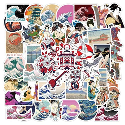 100PCS 10/30 / 50pcs Japón Ukiyo-e Wave Dibujos Animados Graffiti Equipaje Portátil Impermeable No Adhesivo Pegatinas al por Mayor estéticas (Color : 50PCS)