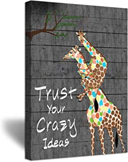 ZingArts Funny Animals Giraffe Canvas Wall Art Inspirational Quote Trust Your Crazy Ideas Giclee Poster Print Gallery Wrap for Office Bedroom Modern Home Decor Ready to Hang 24x36inch