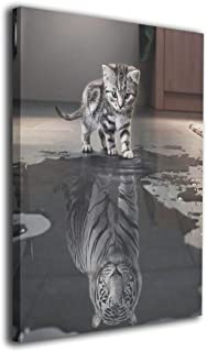 Martoo Art Kitten-Tiger Reflection Painted Framed Oil Paintings Printed On Canvas Wall for Office Home Decor Pictures Modern Artwork Hanging for Living Room Decorations Ready To Hang