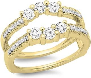 Dazzlingrock Collection 0.80 Carat (ctw) 14K Gold Round Diamond Anniversary Wedding 3 Stone Enhancer Guard Double Ring 3/4 CT