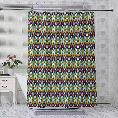 Aishare Store - Cortina de ducha con ganchos, diseño de flecha geométrica tribal, motivos uzbekos, surreal tradicional Boho, 84 pulgadas de largo, accesorios de baño modernos, multicolor