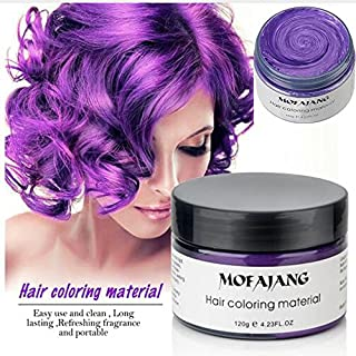 Temporary Purple Hair Wax,YHMWAX Fashion Colorful Hair Wax Pomades Disposable Natural Hair Strong Style Gel Cream Hair Dye,Instant Hairstyle Mud Cream for Party, Cosplay, Masquerade etc. (Purple)