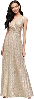 Sequin V-Neck Bridesmaid Dress with Satin Piping Style F19787