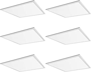 Hykolity 2x2 FT White LED Flat Panel Troffer Light, 40W 5000K Recessed Edge-Lit Drop Ceiling Light, 4200lm Lay in Fixture for Office, 0-10V Dimmable, 3-Lamp F17T8 Fixture Replacement, 6 Pack
