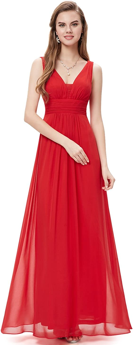 Ever-Pretty Double V-Neck Elegant Ruched Eveni Ladies Save money Waist New products, world's highest quality popular! Long