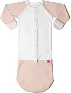 Goumikids Goumijamms Organic Smart Baby Gown, With No Scratch Mitts and Foot Pockets With Easy Diaper Change,Magical Woods (Poppy),Newborn