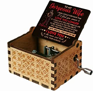 الخشب الموسيقى مربع الليزر محفورة خمر اليد مكرنك هدايا لعيد الحب/عيد الزفاف يوم/صناديق عيد ميلاد أفضل فريدة