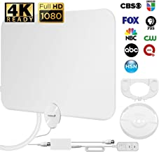 Fosmon HDTV Antenna [2019 Latest], Ultra Thin Indoor Digital TV Antenna Up to 120 Miles Long Ranges, UHF/VHF/1080p 4K Free TV Channel, with Amplifier Signal Booster / 10FT Coaxial Cable (White)