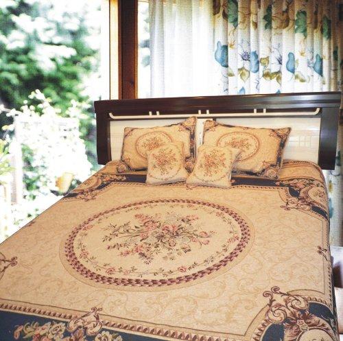 DaDa Bedding Soft & Smooth Elegant Chenille Woven Medallion Bedspread, Twin, Creme & Blue, 3-Pieces