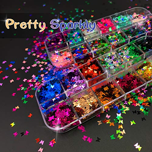 3D Butterfly Nail Glitter Sequins, Tcomhk Sexy Butterfly Nail Sequin Acrylic Paillettes, Holographic Nail Sparkle Glitter for Nail Art Decoration24 Color 2 Boxes