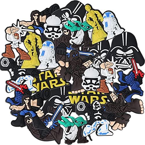 24 Pcs Star Wars Different Shoe Charms Miotlsy-Charm Chaussures Décoration, for Shoes & Bracelet Wristband Kids Party Birthday Gifts, Bijoux de chaussures Mélange de couleurs