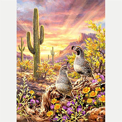 5D Diamond Painting Kit Diy Craft set Full Drill Square - Tropical Cactus and Birds Artist, 11.8X15.7 Inch Drill Area, Canvas, Tweezers, Quality Fabric(No Frame)