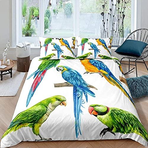 Funda Nordica Cama 105 200x200 Blanco Multicolor pájaro Moderno niña Juventud niño Modernas Suave 90gsm Polyester Colchas Cama 2 Fundas de Almohada 80x80 y Cremallera Resistente