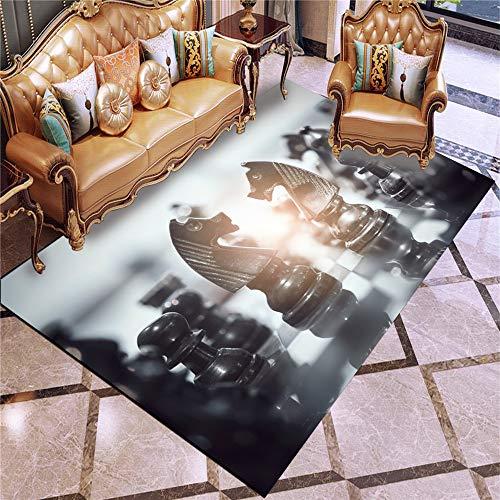 Schachbrett Transparent Chess Abstrakt Abstraktion Schwarz Checker Board Wohnzimmer Teppich, Anti-Rutsch-Teppich-Matten, Boden Teppich Mat,Xq2,80x160cm