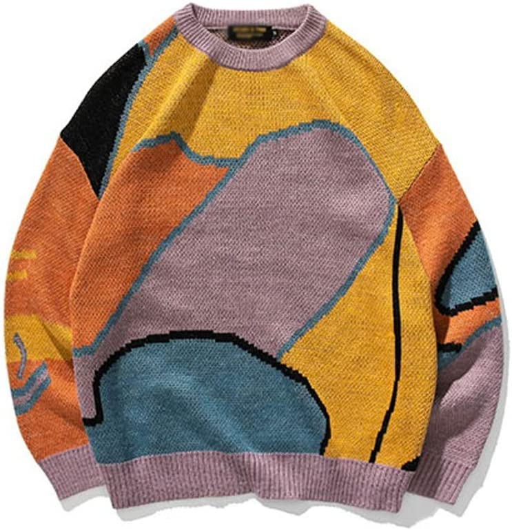 XJJZS Youth Men Cartoon Winter Wool Sweater Pullover Mens Knitted Sweater Women Korean Casual Clothes (Color : Purple, Size : L-length-70CM)