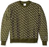 Champion Men's Reverse Weave Crew-Print, diagonal script HIKER green, 3X-Large
