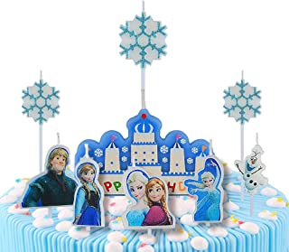 pinkblume Frozen Elsa Anna Happy Birthday Cake Candles Birthday Party Cake Toppers Decorations for Girls