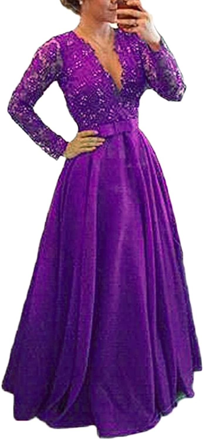 Mathena Women's Beaded Lace Illusion Long Sleeve Mother Prom Evening Dress