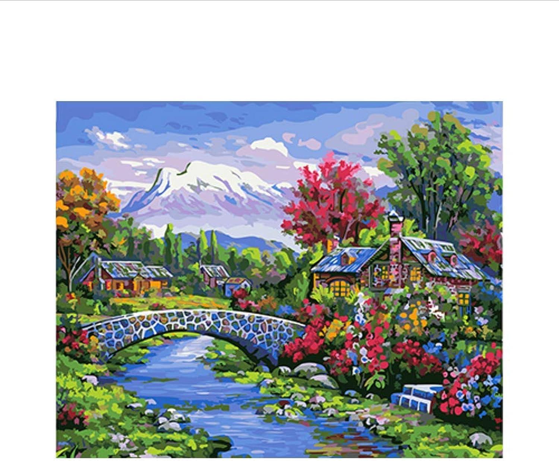 Waofe  Landschaft Gerahmte Bilder Malen Nach Zahlen Malen Und Kalligraphie Diy Farbeing By Numbers Auf Leinwand B07PQ19H7R | Viele Sorten