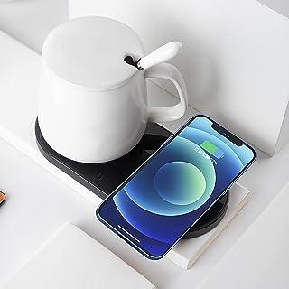Coffee Mug Warmer 2 in 1 Phone Wireless Charger, Coffee Cup Warmer for Desk Auto Shut Off Candle Electric Smart Mug Tea Wa...