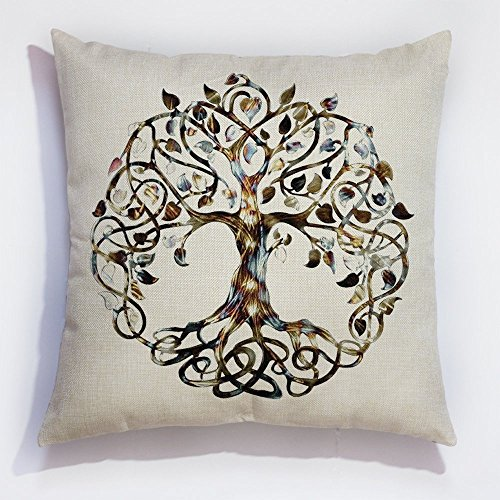 Familia árbol de la vida manta funda de almohada Funda de cojín de lino Decor funda de almohada
