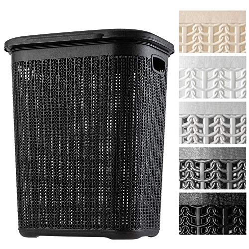 KADAX Wäschekorb, 50L, multifunktionale Wäschetruhe mit Deckel, Leichter Wäschesammler, Wäschesortierer aus Kunststoff, für Bad, schmutzige Kleidung, Spielzeug, Wäschebox (schwarz)