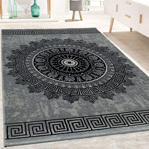 Paco Home Designer Teppich Wohnzimmer Mandala Muster Kurzflor Barock Stil In Grau Schwarz, Grösse:160x230 cm