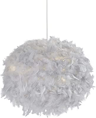 Grey 50 cm Lighting Collection Round Feather Ball Easy Fit Pendant Shade