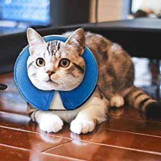 MorTime Protective Inflatable Collar for Dogs and Cats Adjustable Soft Pet Recovery Collar - Does Not Block Vision