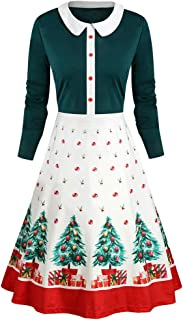 Iusun Women's Christmas Vintage 1950s Flare Dress Xmas Printed Peter Pan Collar Long Sleeve A-Line Housewife Evening Party Pretty Hepburn Skirt