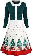 Womens Dresses Elegant Vintage Print Xmas Christmas Peter Pan Collar Long Sleeve Ladies Dress