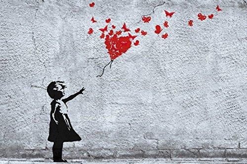1art1 Mädchen - Mädchen Mit Luftballon Und Schmetterlingen, Banksy-Style Selbstklebende Fototapete Poster-Tapete 180 x 120 cm
