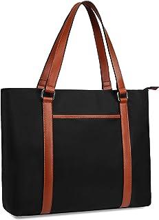 Gywon Women's Work Tote Laptop Shoulder Bag Nylon Totes Genuine Leather Handle Handbag Purse Briefcase Fits 15.6 inch Comp...