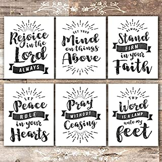 Scripture Wall Art Christian Prints (Set of 6) - Unframed - 8x10s | Chalkboard Bible Verses