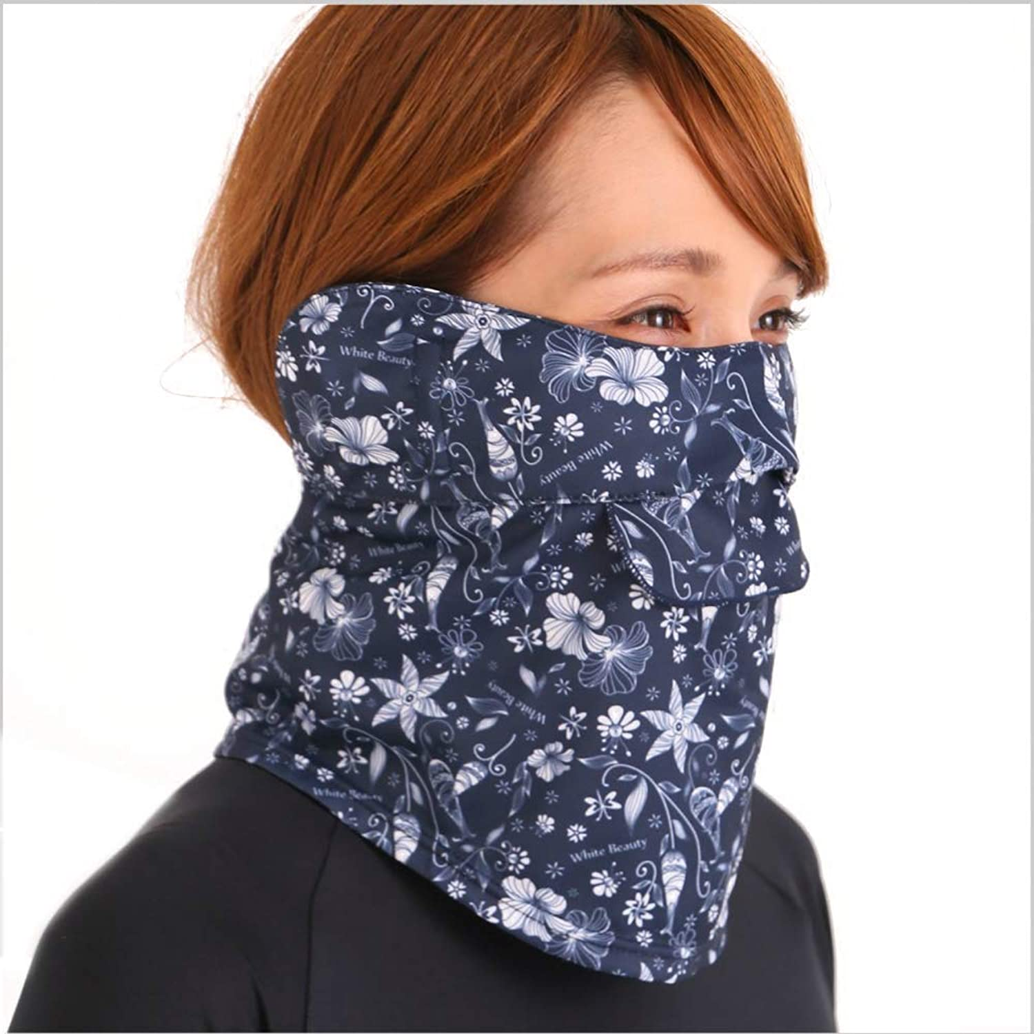 White Beauty suffocating no UV cut face cover C type (floral pattern Navy)