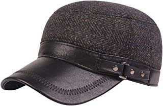 iNoDoZ Men Leather Casual Winter Warm Hat Thicken Middle-Aged Hat Cap Topee