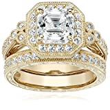 Yellow-Gold-Plated Sterling Silver Antique Ring set with Asscher-Cut Swarovski Zirconia, Size 6