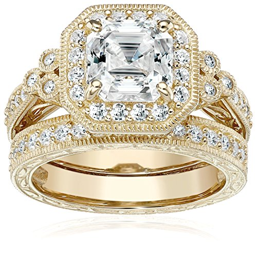 Yellow-Gold-Plated Sterling Silver Antique Ring set with Asscher-Cut Swarovski Zirconia, Size 7